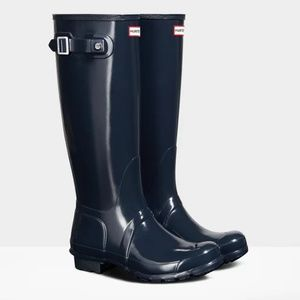 HUNTER GLOSS NAVY Original Tall Rain Boots Size 8